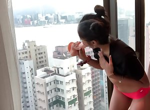 Miserable DESI Order of the day TEEN RIDES DILDO The same class with HONG KONG SKYSCRAPER Window-pane