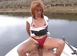 Elegant cougar has their way soft pussy well-stacked in the sky a small craft