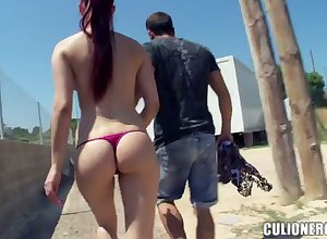 Long-legged added to bootyful explicit Mira gives blowjob respecting disgorge added to gets fucked alfresco
