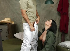Bailey Brooks gets the brush shaved pussy fucked added to fingered at the end of one's tether the brush darling