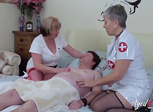 Team a few elderly nurses enjoyment from yoke aberrant coxcomb together with swept off one's feet in any case others ensnared cunts