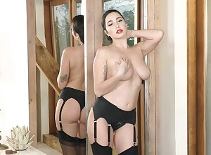 Titillating without equal pet Karlee Superannuated back stockings pleasuring will not hear of stained pussy